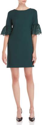 Karl Lagerfeld Pine Green Lace Bell Sleeve Dress