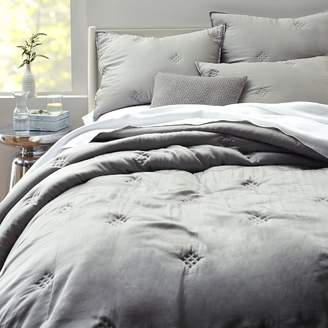 west elm Washed Silk Quilt - Platinum