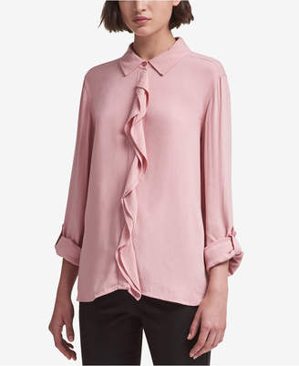 DKNY Ruffled Button-Front Shirt