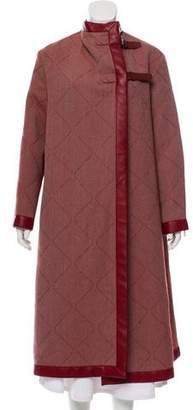 Hermes Leather-Trimmed Wool-Blend Coat