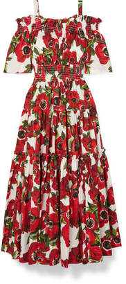 Dolce & Gabbana Cold-shoulder Floral-print Cotton-poplin Midi Dress - Red