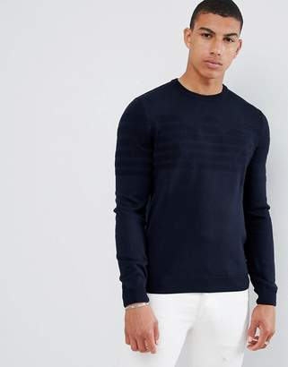 Emporio Armani intarsia logo knitted crew neck sweater in navy