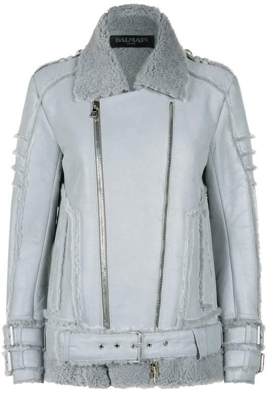 Reflective Shearling Aviator Jacket