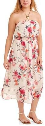 Paper Tee Junior's Plus Strapless Floral Print Sun Dress