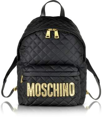 Moschino Black Quilted Nylon Backpack w/Laminated Logo