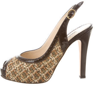 Christian Dior Christian Dior Peep-Toe Tweed Pumps