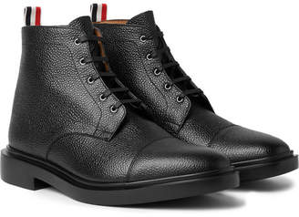 Thom Browne Cap-Toe Pebble-Grain Leather Boots