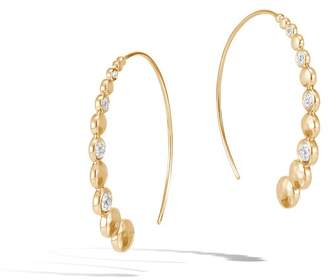 John Hardy Hammered Medium Hoop Earring With Diamonds