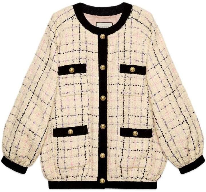 Oversize tweed bomber jacket