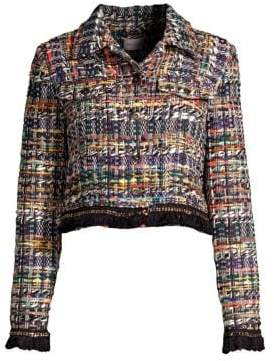 Milly Fringe& Chain Trim Tweed Jacket