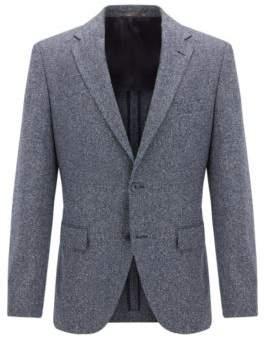 BOSS Hugo Melange Wool Silk Blend Sport Coat, Regular Fit Jestor 36R Dark Blue