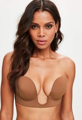 Missguided Tan Secret U Plunge Stick On Strapless Bra