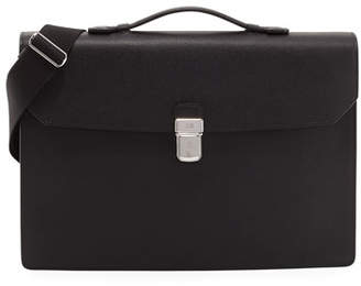 Dunhill Cadogan Leather Flap Briefcase, Black