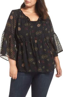Lucky Brand Swiss Dot Floral Top