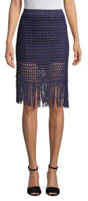 BCBGMAXAZRIA Fringed Crochet Pencil Skirt