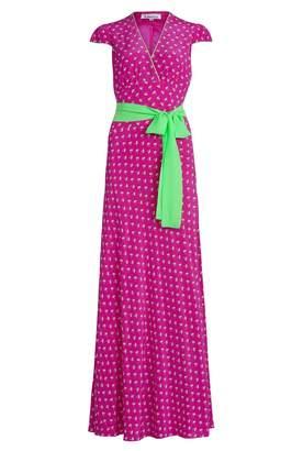 Libelula Long Willow Dress Hot Pink Palm Tree Print