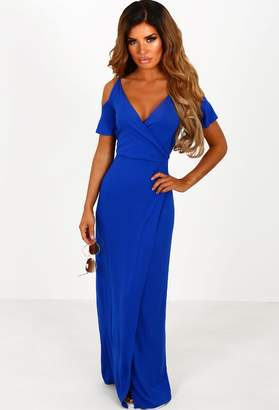 455c15adeb8 Pink Boutique Thassos Cobalt Blue Cold Shoulder Jersey Maxi Dress