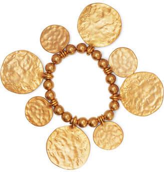 Kenneth Jay Lane Hammered Gold-tone Beaded Bracelet