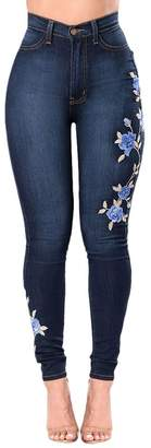 Zhhlinyuan Embroidered Stretch High Waist Denim Skinny Jeans for Women Butt Lifting