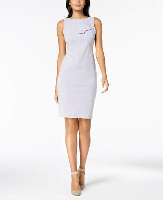 Calvin Klein Striped Knotted-Bow Sheath Dress