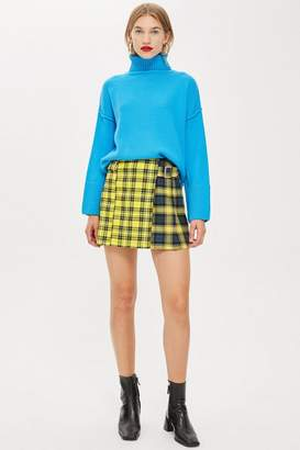 Topshop Mixed Check Buckle Kilt Mini Skirt