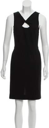 Oscar de la Renta Wool Keyhole Twist Pencil Dress Black Wool Keyhole Twist Pencil Dress