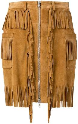 Diesel Black Gold Skirt in split suede with fringes