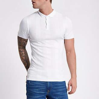 River Island White rib short sleeve muscle polo shirt
