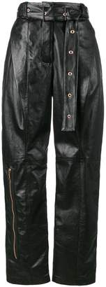 Proenza Schouler Leather Belted Straight Pant