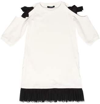 Cotton Sweatshirt Dress W/ Tulle Hem