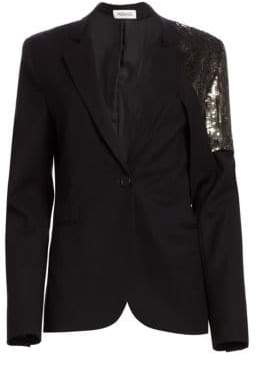 Monse Sequin Shoulder One-Button Blazer