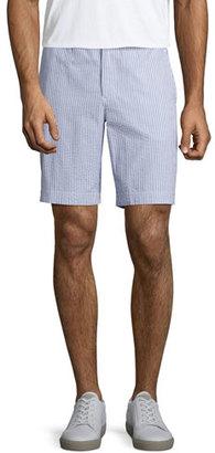 Orlebar Brown Dane 2 Striped Seersucker Shorts, Navy/White $245 thestylecure.com