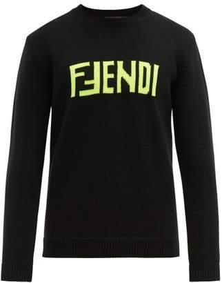 Fendi Logo Jacquard Wool Sweater - Mens - Black