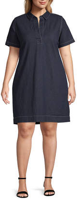 Liz Claiborne Short Sleeve Denim Dress - Plus