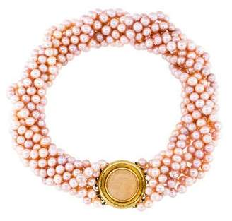 Elizabeth Locke 18K Chalcedony & Mother of Pearl Doublet Multistrand Pearl Necklace