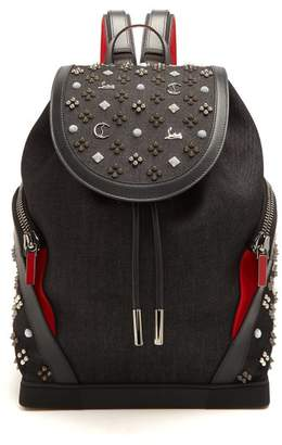 Christian Louboutin Explorafunk Spike Embellished Backpack - Mens - Black