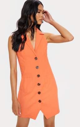PrettyLittleThing Tangerine Sleeveless Button Front Blazer Bodycon Dress