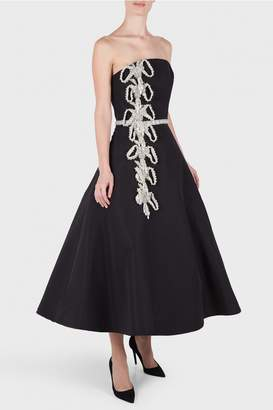 Christian Siriano Embroidered Silk Cocktail Dress