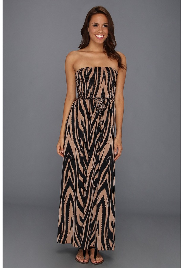Anne Klein Desert Print Maxi Dress (Black/Dark Oak Multi) - Apparel
