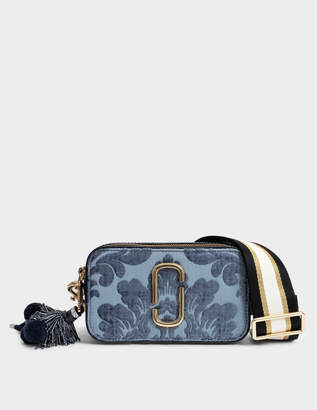 Marc Jacobs Damask Snapshot Camera Bag in Blue Split Cow Leather with Polyurethane Coating
