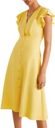 MANGO Fit Flare Flutter Sleeve Dress
