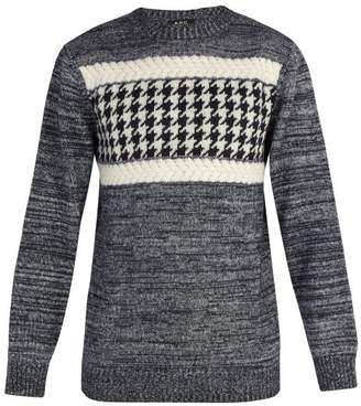 A.p.c. - Houndstooth Intarsia Wool Blend Sweater - Mens - Navy