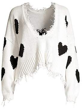 Wildfox Couture Women's Hearts Palmetto Frayed Trim V-Neck Sweater