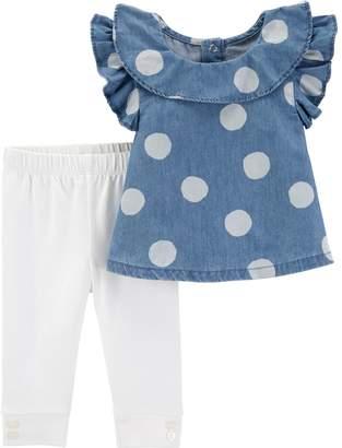 Carter's Baby Girl Polka-Dot Chambray Top & Leggings Set