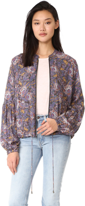 Free People Soft Printed Balloon Sleeve Jacket $128 thestylecure.com