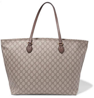 6ab9fa3ead3e Gucci Ophidia East West Leather-trimmed Printed Coated-canvas Tote - Brown