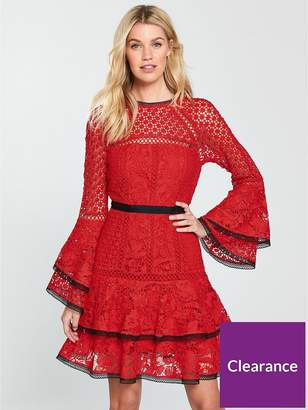 Very Lace Tiered Flippy Dress - Red