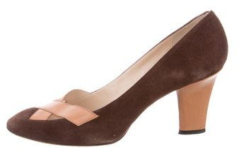 Givenchy Suede Round-Toe Pumps