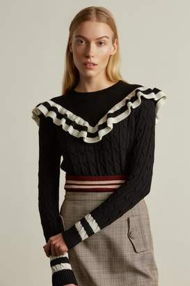 Genuine People Wool Blend Ruffle Sweater