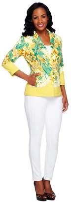 Isaac Mizrahi Live! Notch Collar Floral Print Knit Blazer